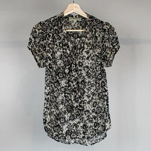 Pleione Black Floral Blouse with Tie Front - Small